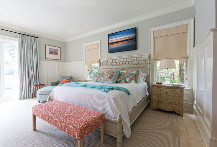 beautiful bedroom with pops of color | Jenny Keenan Design