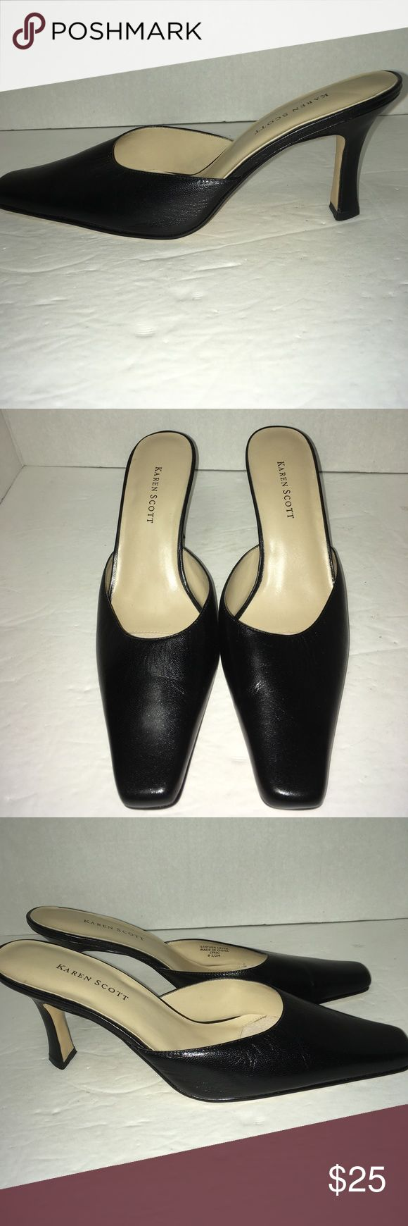 """NWOT Karen Scott black leather Mule 3.5"""" Heels New Without Tags!  """"Lyric"""" miles with triangular shaped heels. Karen Scott Shoes Mules & Clogs"""