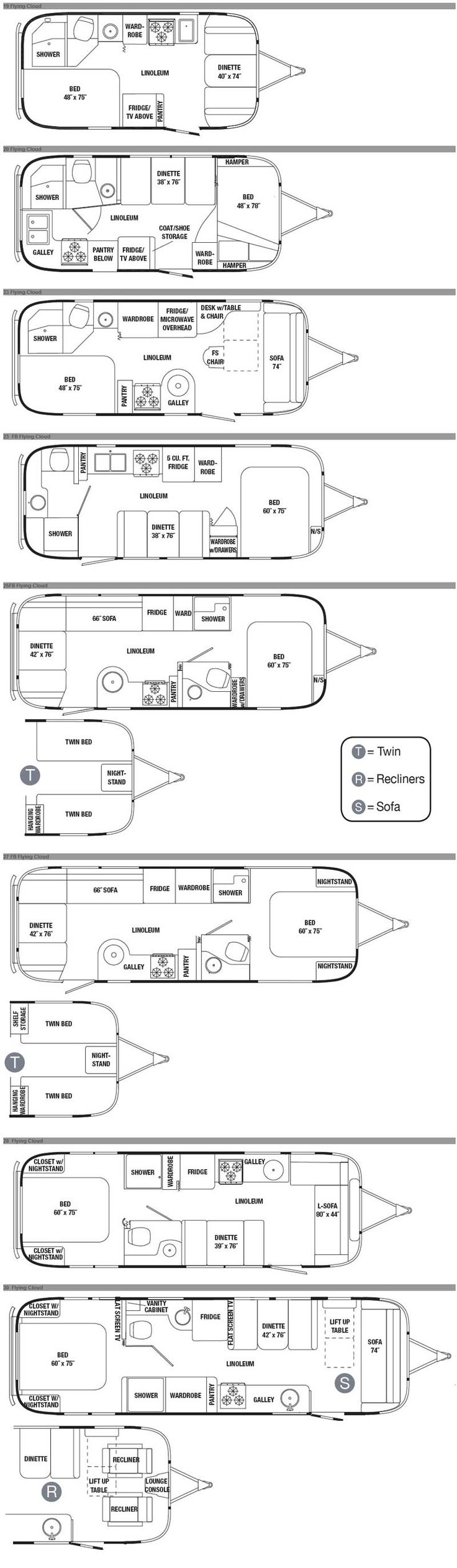 Airstream Flying Cloud travel trailer floorplans - 2012