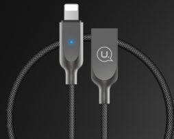 Inteligentný lightning nabíjací kábel, 120cm, textilný v čiernej farbe ,