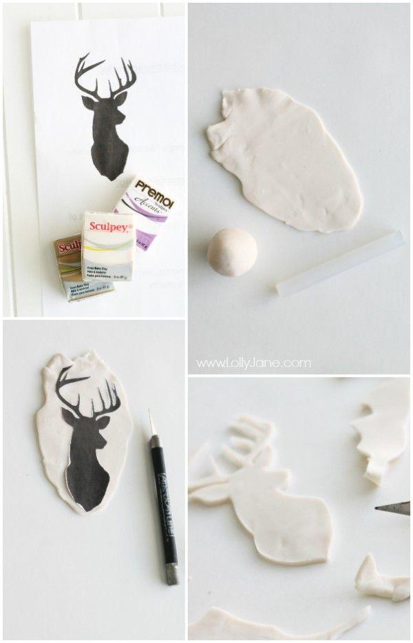 Easy Clay Deer Head Ornament - Lolly Jane