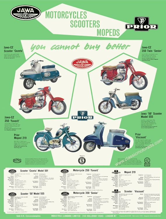 Classic Jawa & Prior motorcycle poster. Reproduced the original 1960 sales sheet