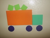 Shapes and trucks a great way to talk about shapes, transportation and encourage creativity.