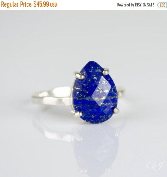ON SALE - Lapis Lazuli Ring, September Birthstone Ring, Gemstone Ring, Stacking Ring, Gold Ring, prong set ring, Tear drop Ring, Lapis Lazul