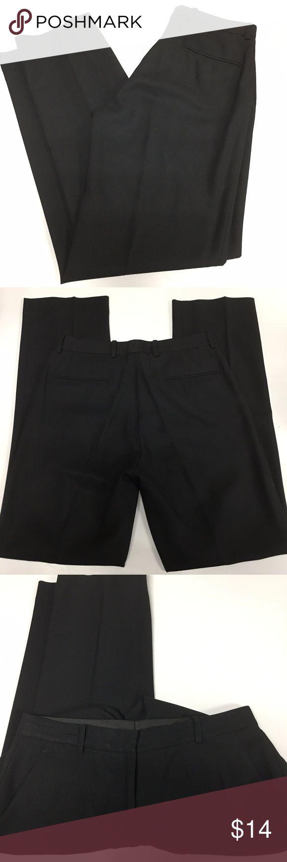 "DKNY Dress Pants Straight Trousers Career Black 6 Good Used Condition!  Brand - DKNY Size - 6 Material - 100% Wool  waist - 14.5"" rise - 10"" bottom leg width - 8"" inseam - 33"" Dkny Pants Straight Leg"