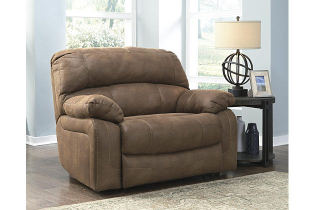 Make a high-style statement without breaking the budget with the oversized Zavier power recliner. You'd think the upholstery was a heavily distressed leather. It's actually a feel-good alternative crafted for looks, easy care and plush comfort. Thanks to its extra wide scale, there might even be room for two.