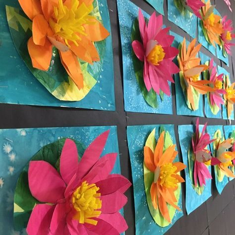 3D waterlily art lesson, inspired by Claude Monet, video tutorial is on my website on this lesson! 2nd Grade Art Lessons – Art with Mrs Filmore, 2nd Grade Art Lessons – Art with Mrs Filmore, Mollie Filmore
