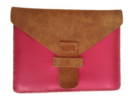 My Favourite! Stunning Cerise and Distressed Tan hand sewn iPad Sleeve
