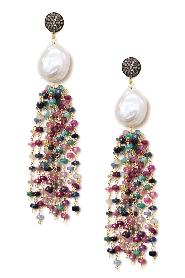Multicolor Sapphire, Pearl & Champagne Diamond Tassel Earrings