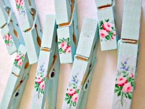 Shabby chic your plain wooden pegs using mint acrylic paint and tiny decals or stickers