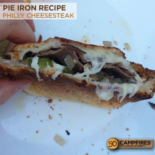 Um, sign me up! Pie Iron Philly Cheesesteak Recipe #camping #recipes #philly
