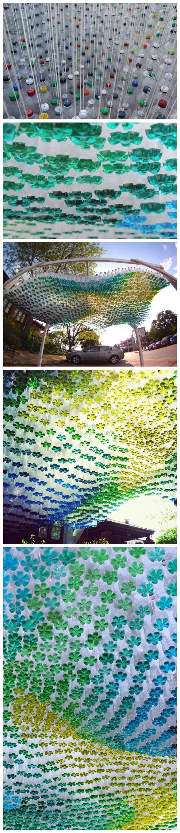 Using thousands of soft drink bottles which have then had the base filled with coloured water makes this stunning piece of art work.