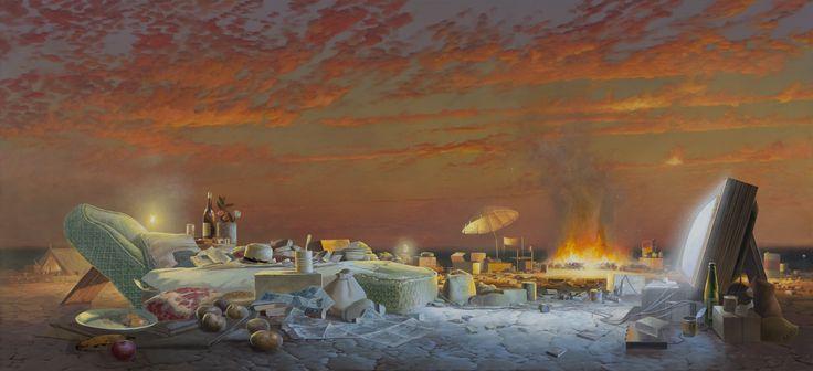 Evening programme (pastoral domestic) 2009-10  Acrylic on canvas, 92 x 198 cm  Tim Storrier