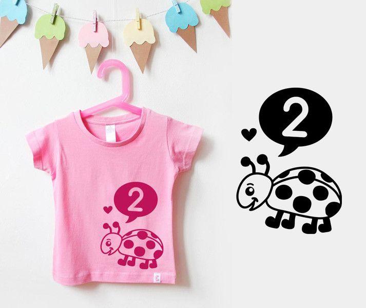 T-Shirts - Geburtstagsshirt   Marienkäfer rosa - ein Designerstück von naehfein-berlin bei DaWanda #tshirt #maedchen #fuerkinder #geburtstag #kleidung #marienkäfer #süß niedlich #rosa