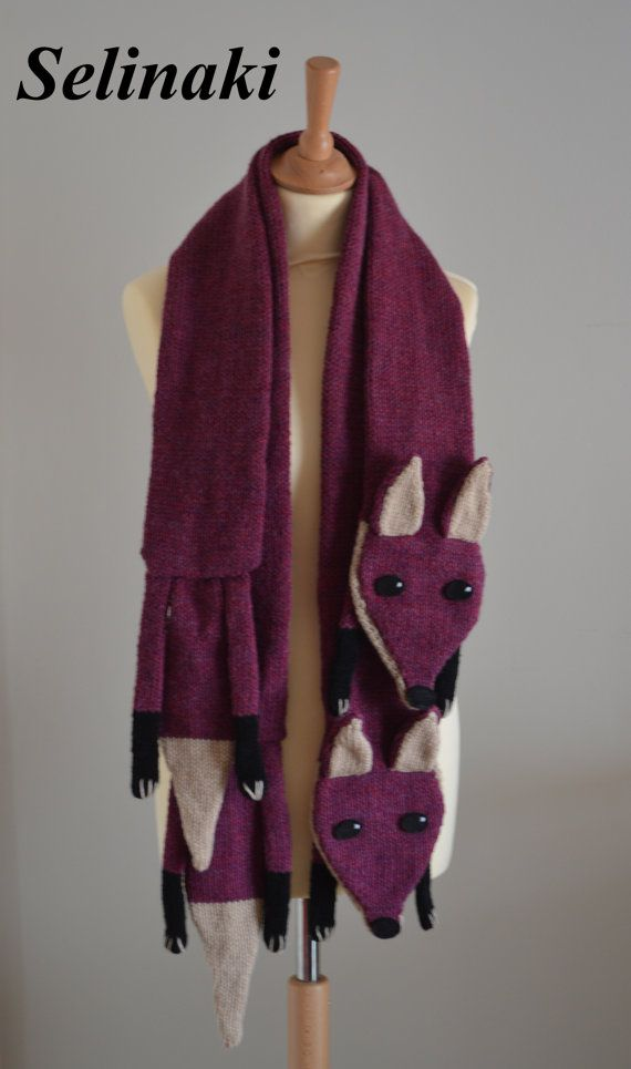 Hand knit fox scarf. Can be used by children or adults.  Handmade by me with…