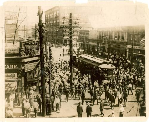 EAST ST LOUIS RIOTS--On July 2, 1917, Angry white mobs stopped trolleys and streetcars, pulling black passengers out and beating them on the streets and sidewalks. Theyset fire to the homes of black residents who had to choose between burning alive in their homes, or run out of the burning houses, only to be met by gunfire. In other parts of the city, African Americans  were lynched against the backdrop of burning buildings.