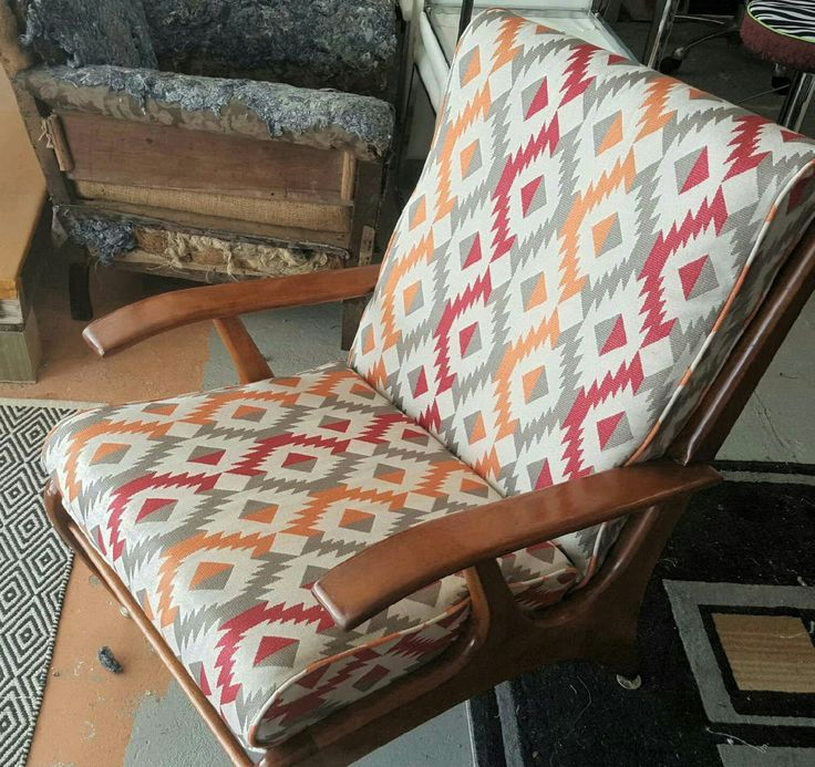Retro vintage chair with a modern funky new look. Have an old loved treasure? Don't throw it out, reupholster it @ longlostlovedupholstery.com.au