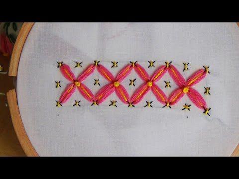 Hand Embroidery: Tacking lazy daisy - YouTube