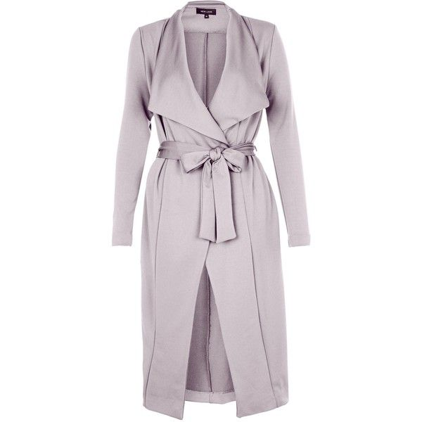 New Look Grey Split Side Waterfall Coat (£30) ❤ liked on Polyvore featuring outerwear, coats, long sleeve coat, new look coats, waterfall coat, summer coat and gray coat