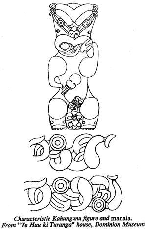 """Characteristic Kahungunu figure and manaia. From """"Te Hau ki Turanga"""" house, Dominion Museum"""