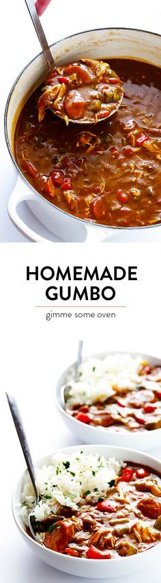 My All-Time Favorite Gumbo Recipe -- made with chicken and andouille sausage, lots of veggies, and absolutely delicious!!   gimmesomeoven.com