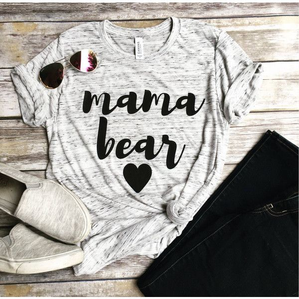 Mama Bear Shirt Pregnancy Announcement Shirt Mom Life Pregnant Shirt... ($25) ❤ liked on Polyvore featuring tops, silver, tanks, women's clothing, white tee, crew neck t shirt, crew neck shirt, crew t shirts and white crew neck t shirt