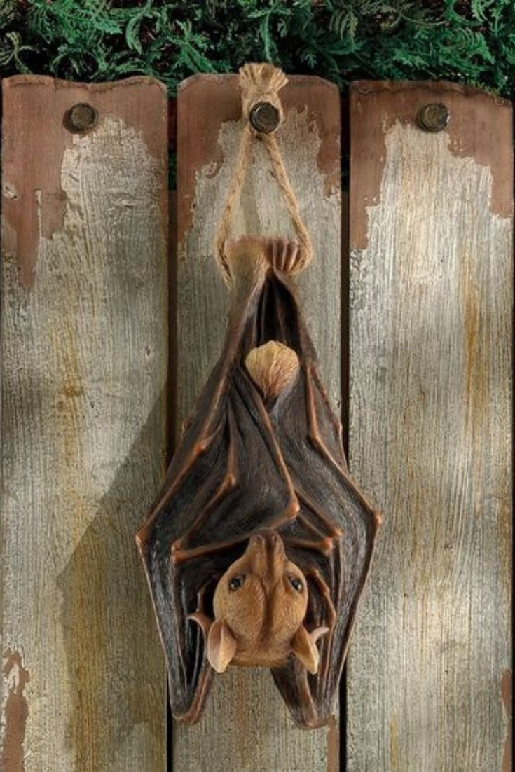 Fruit Bat Hangs With Folded Wings From An Included Rope Indoor Outdoor Hand Cast Using Real Crushed Stone Bonded High Quality Designer Resin Each