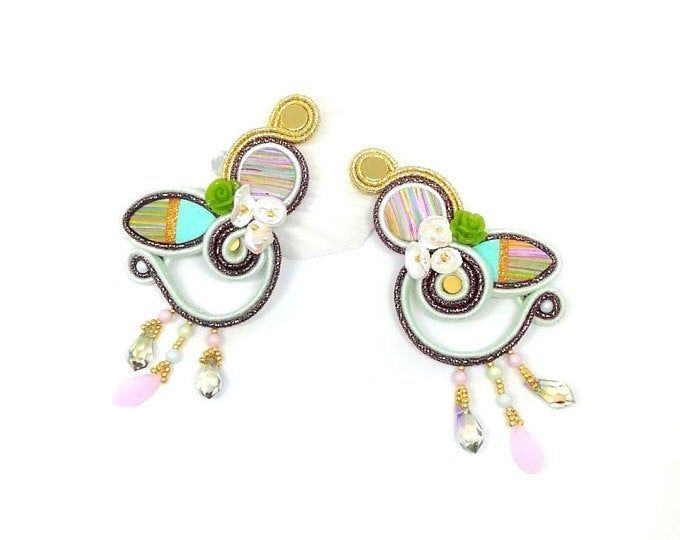 soutache jewelry Colorful stud earrings with crystals and tassels statement soutache earrings colorful sticks with crystals and woes