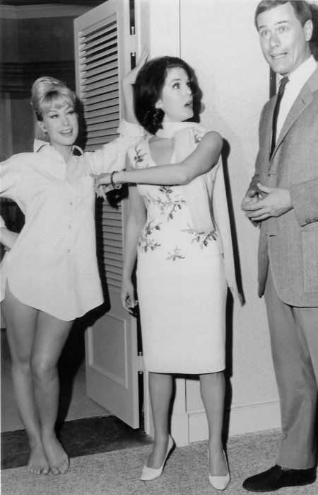 """Karen Sharpe stars as Melissa Stone in the pilot and first season of """"I Dream of Jeannie"""" with Barbara Eden and Larry Hagman"""