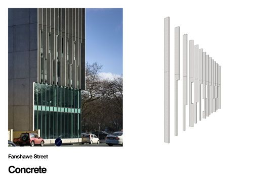 Concrete fins, 152 Fanshaw Street