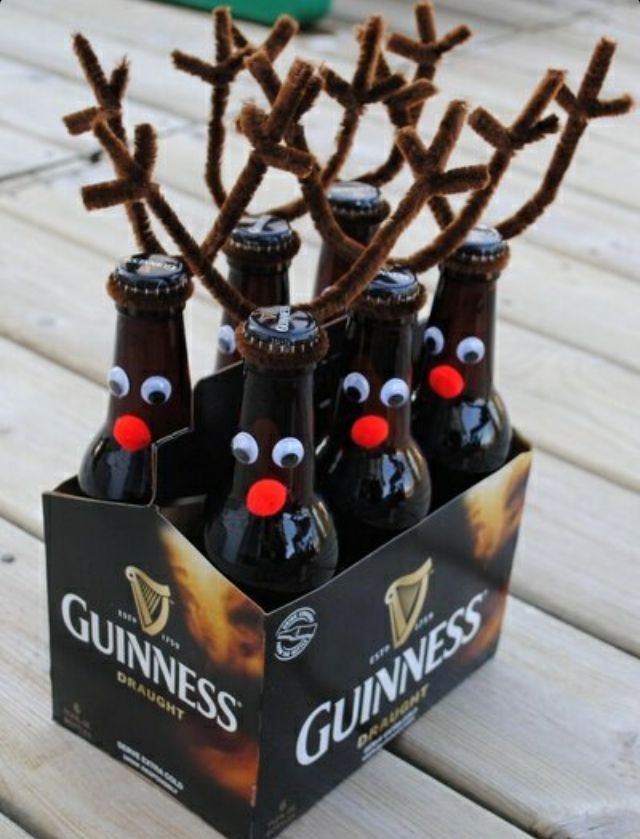 Use rootbeer and add a festive bow around their necks for the boys!