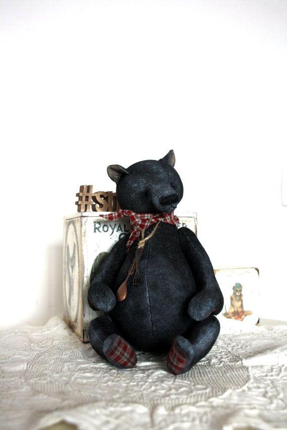 Artist Bear Black Jeans 31 cm by NatashaMurasha on Etsy