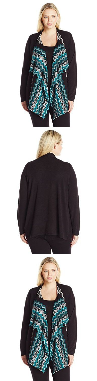 Jones New York Women's Plus Size Chevron Print Cardigan, Multi Combo, 1X