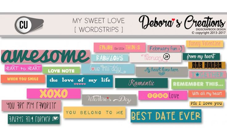 My Sweet Love Wordstrips by Debora's Creations CU