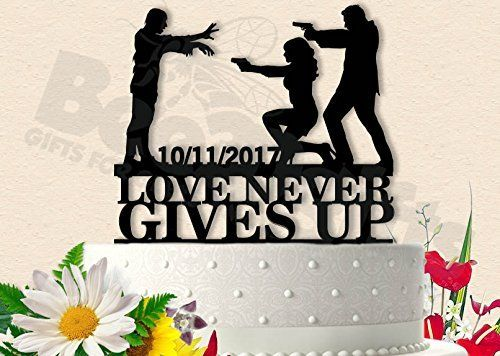 Love Never Gives Up Wedding Cake Topper. Top your cake with this awesome Zombie wedding cake topper. Nothing says I love you more than you and your other half fighting the undead. Each Topper we design can be customized to fit your needs. Images are found by us and mostly redesigned in Illustrator to make the most unique and crazy toppers out there. Our toppers are sure to turn heads and brighten up any occasion. Topper is made from 2.5 MM Acrylic. Can be framed and used as a keepsake…