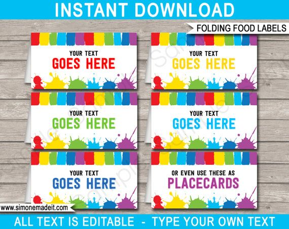 Art Party Food Labels  Art Theme Party  Buffet Tags  Tent
