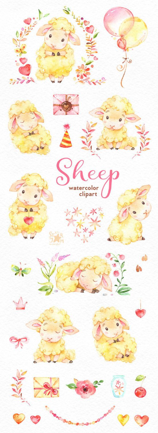 Sheep. Watercolor clip art, characters, cute, heart, floral, animal, planners, romantic, baby shower, stickers, kids, ballons, lamb