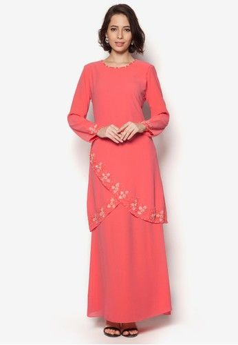 Embellished Baju Kurung from Aqeela Muslimah Wear in Orange Giving off a hint of allure with the wrapped detail at the front, this beautifully crisp baju kurung by Aqeela Muslimah Wear is sure to be a stylish addition to your festive season collection.Top- Polyblend- Round neckline- Long sleeves- Conceale... #bajukurung #bajukurungmoden