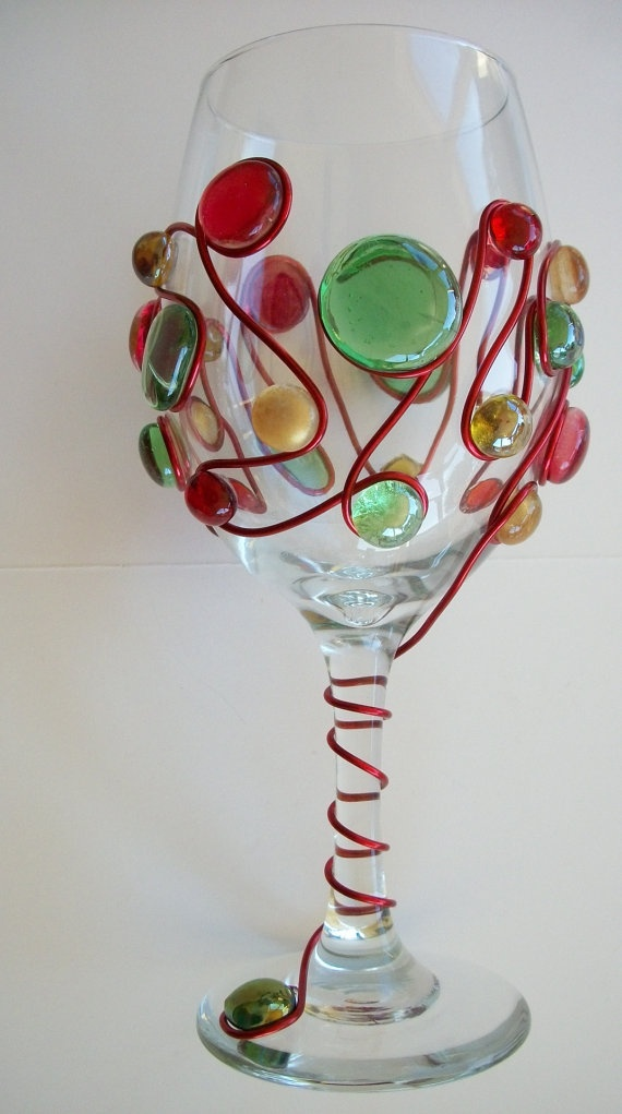 Colorful christmas wine glass holiday crafts pinterest for Holiday wine glass crafts