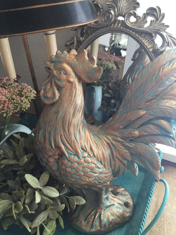 Large French Rooster Statue Kitchen Table by FarmHouseFare on Etsy