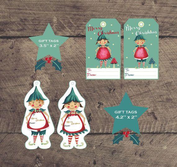 Printable Sugar Plum Christmas Elf Gift Tags by louandboo on Etsy