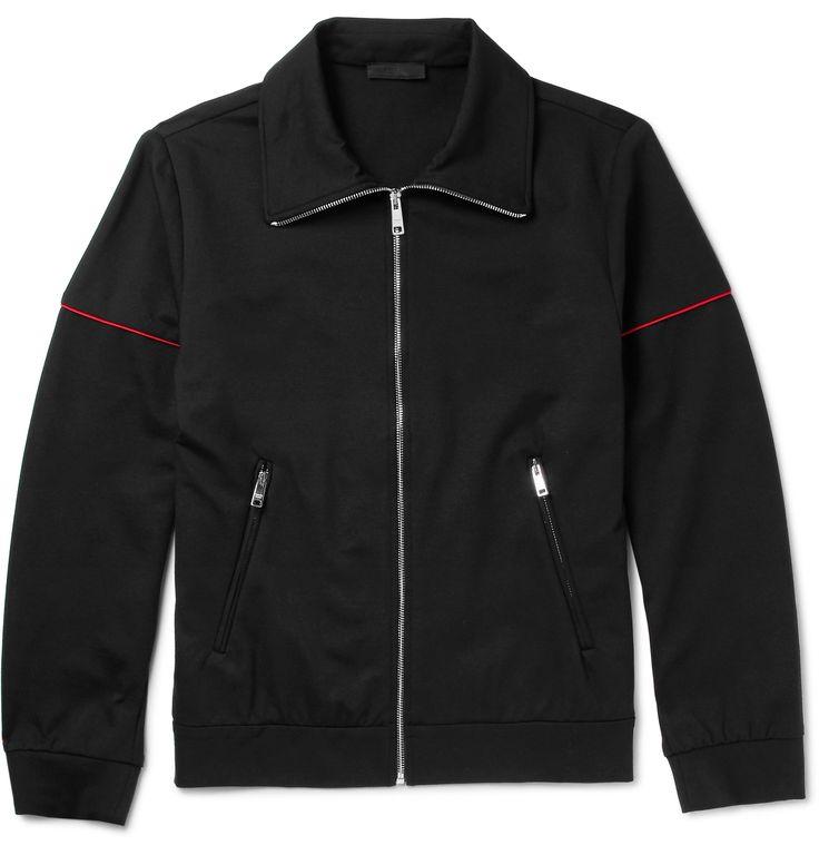 Prada - Slim-Fit Contrast-Trimmed Tech-Jersey Zip-Up Sweatshirt