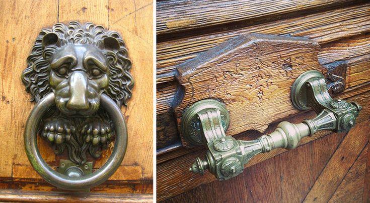 Antike Türbeschläge Jugendstil Löwe Massiv Metall
