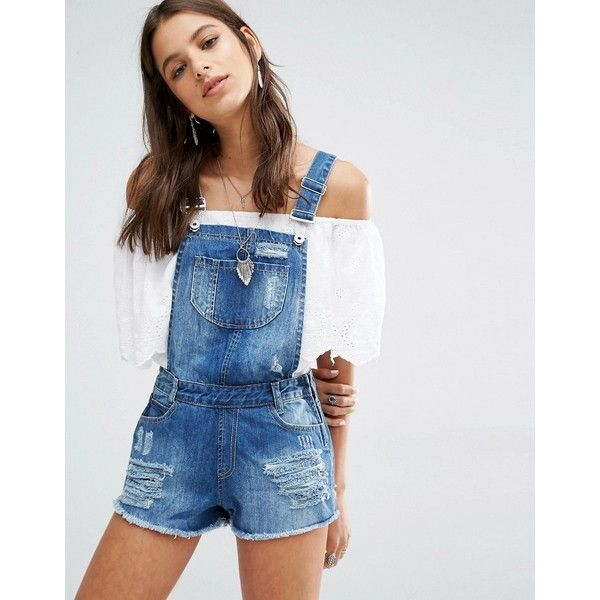 Missguided Distressed Denim Overall Short ($51) ❤ liked on Polyvore featuring jumpsuits, rompers, shorts, vintage, vintage overalls, white overalls, vintage bib overalls, white short overalls and shorts overalls