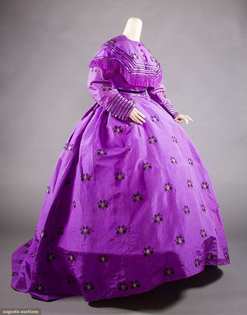 TRAINED PURPLE BROCADE VISITING DRESS, c. 1865