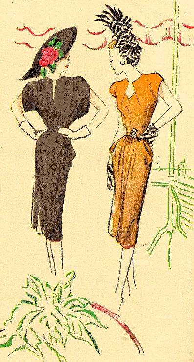 40s dresses...I love the waist treatments on these frocks, and those shoulders!