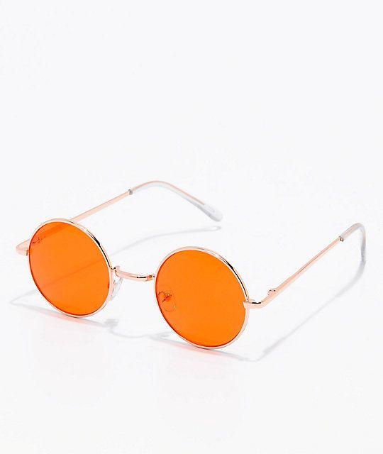 20b6d71e990d Rose Gold & Orange Round Sunglasses   accessories   Orange aesthetic ...