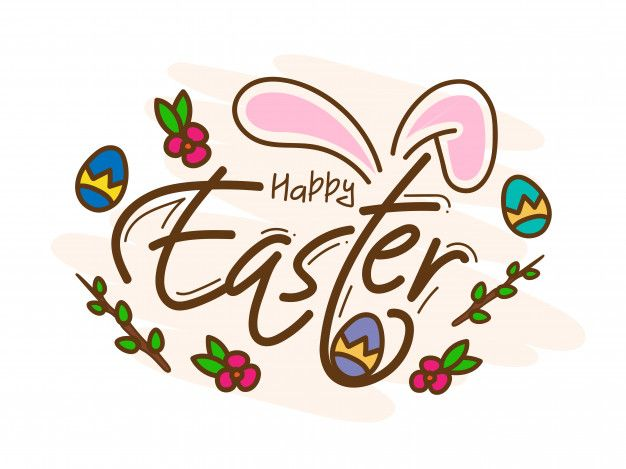 Happy Easter Card With Bunny Ear Printed Eggs And Floral On White Happy Easter Card Easter Cards Happy Easter Greetings