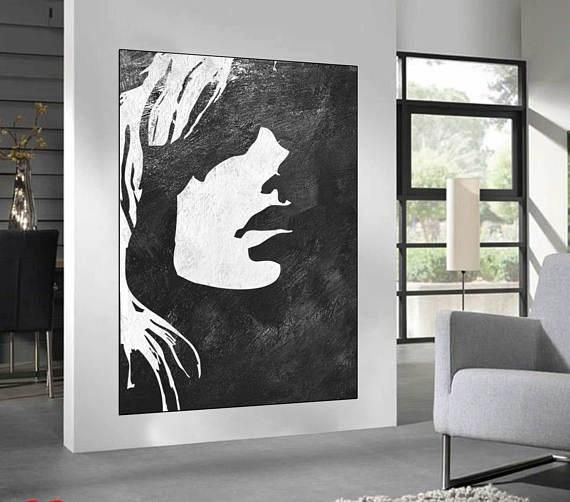 Best Black White Minimalist Abstract Painting Woman Face 400 x 300
