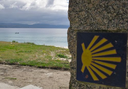 "Sign of the Camino - shell. You see the sign of the Camino everywhere in northern Spain - this is at Finisterre, near Santiago, but on the coast (the original ""end of the world"" - before Columbus discovered America)"